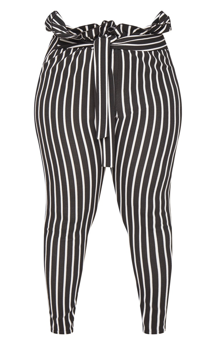 Plus Black Pinstripe Paperbag Skinny Trousers 3