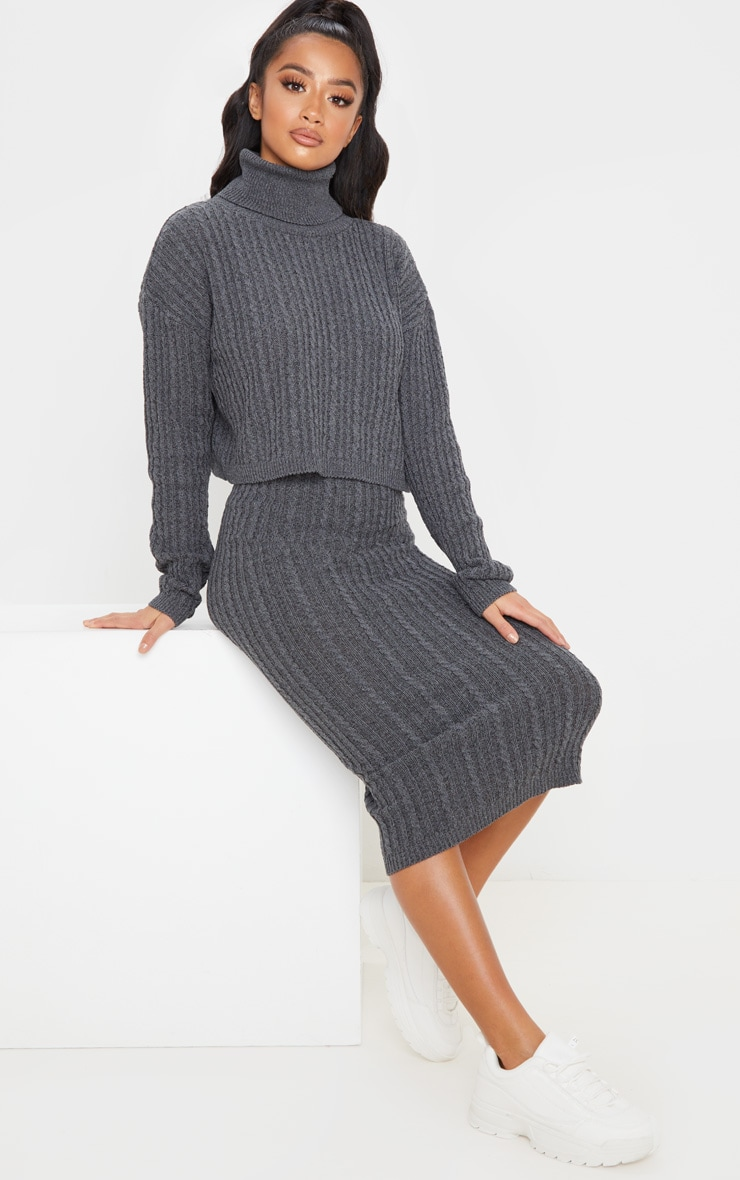 Petite Charcoal Roll Neck Knitted Long Sleeve Sweater 4