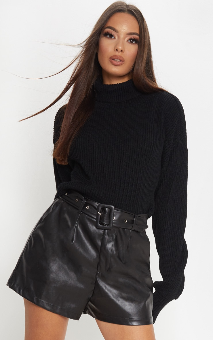 Black Faux Leather Belted Short 1