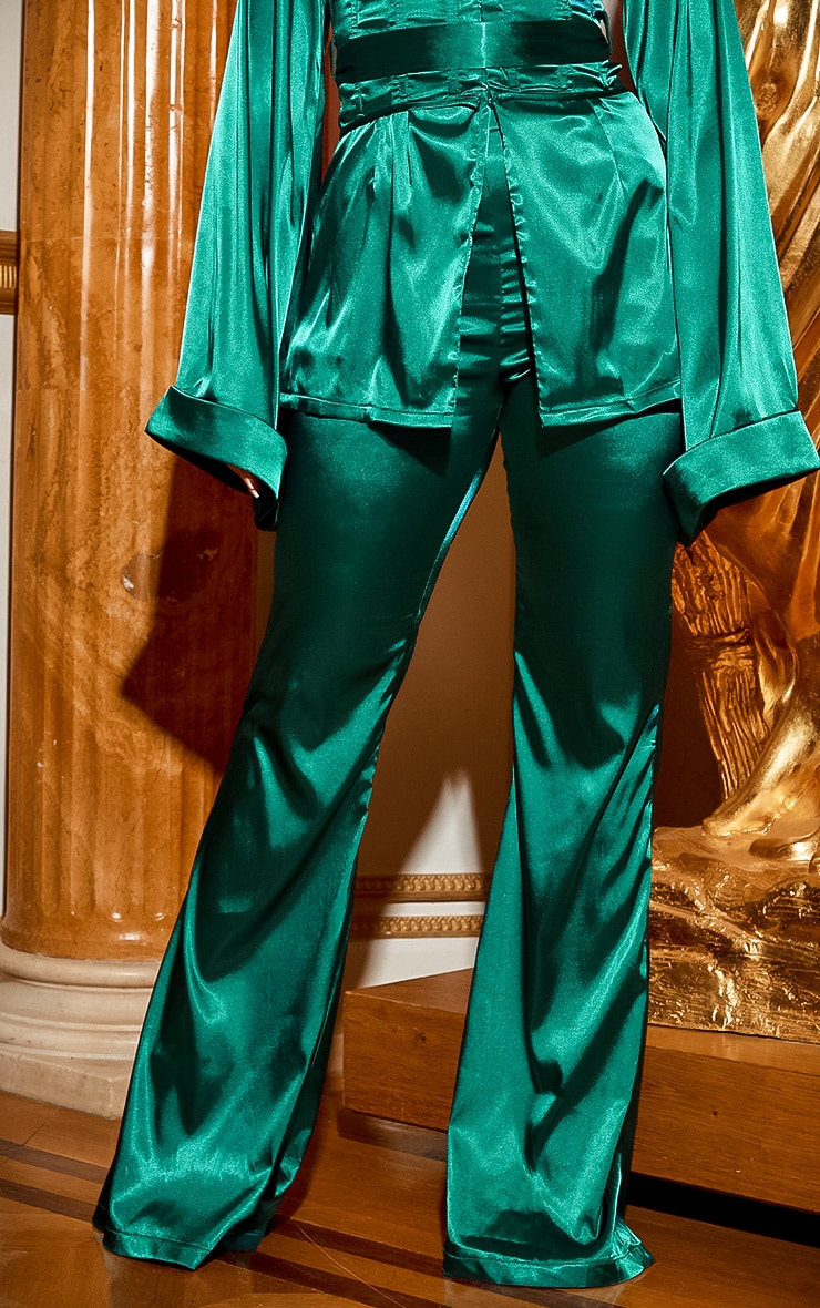 Emerald Green Satin Wide Leg Trouser 2