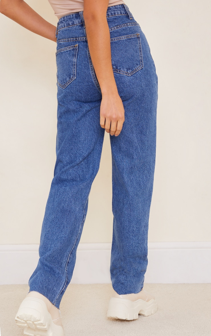PRETTYLITTLETHING Petite Mid Blue Wash Long Leg Straight Jeans 3