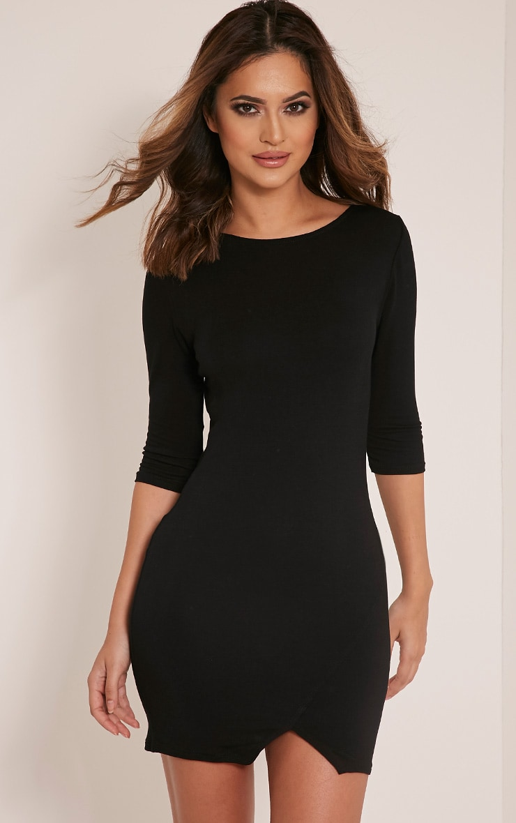 Basic Black Scoop Back V Hem Dress 1