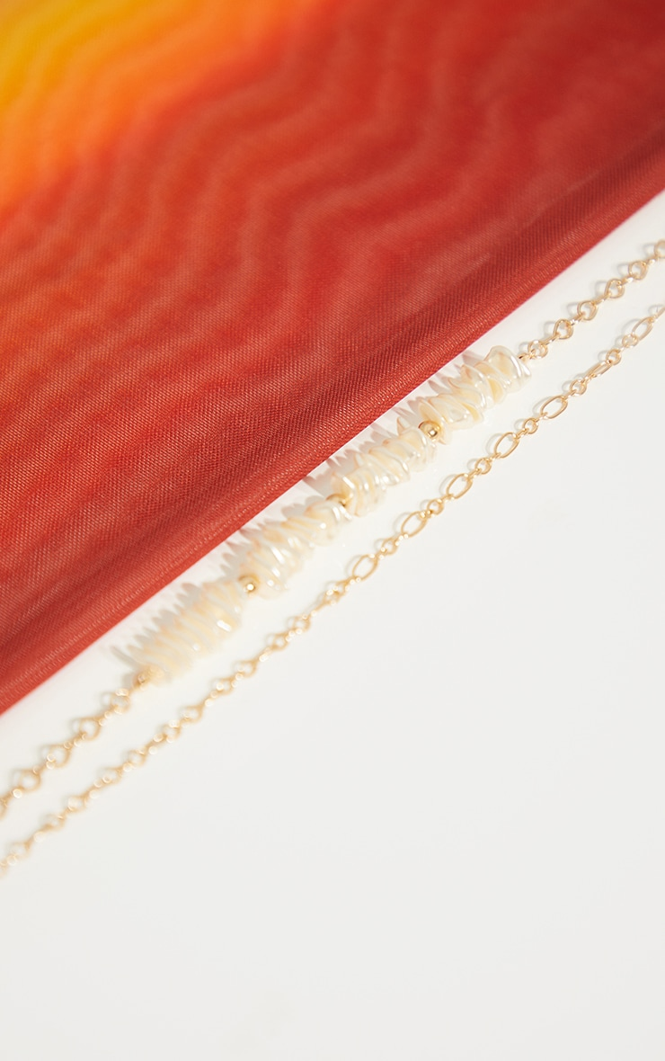 Cream Shell Double Chain Layering Necklace 3