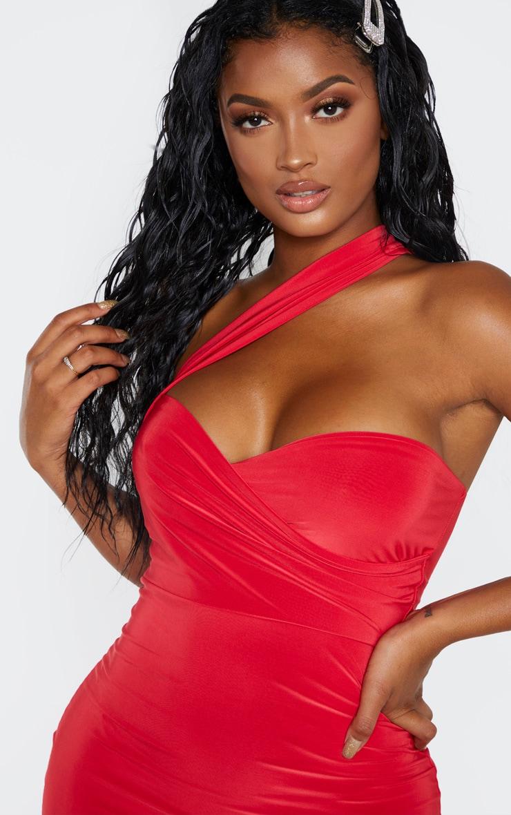 Shape Red Slinky One Shoulder Wrap Mini Dress 5