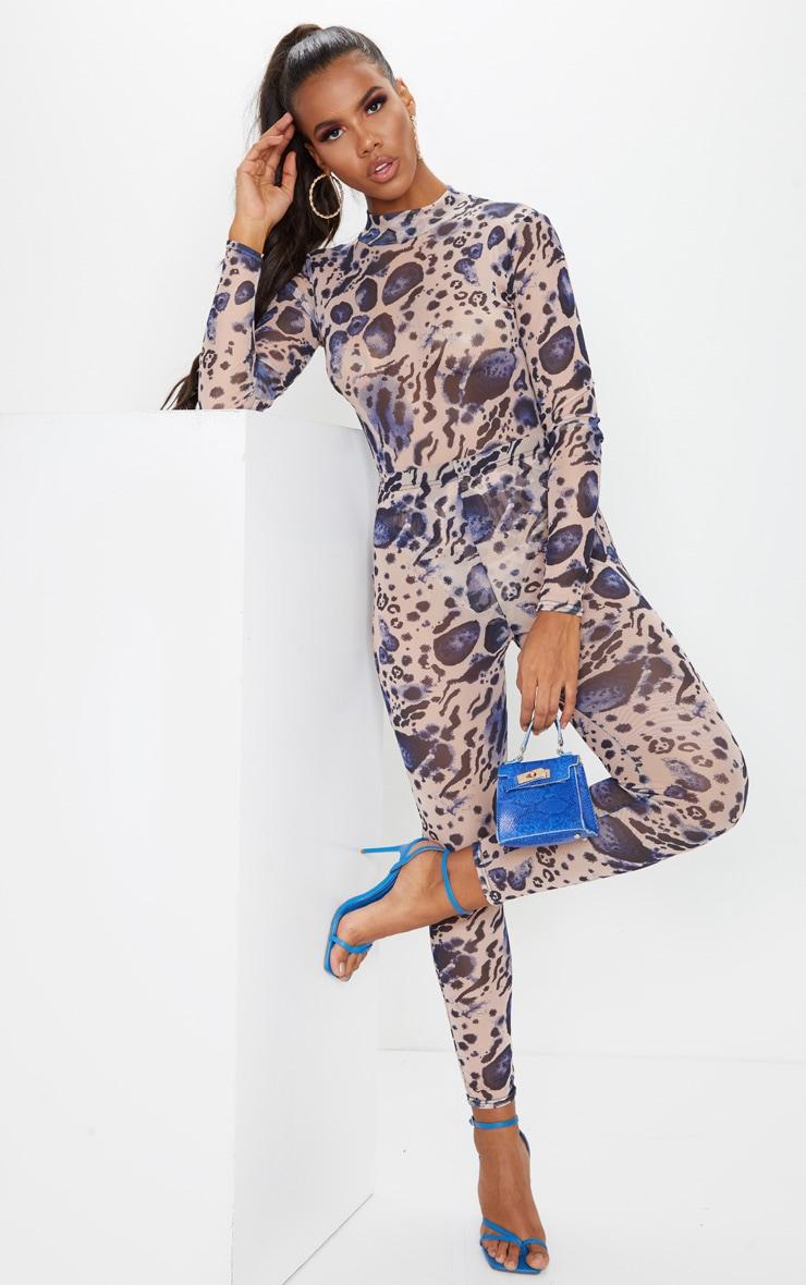 Multi Leopard Print Mesh Leggings 1