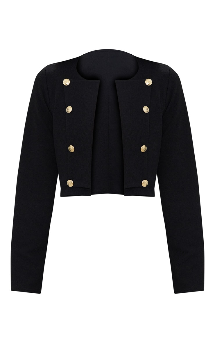 Black Military Cropped Jacket  3