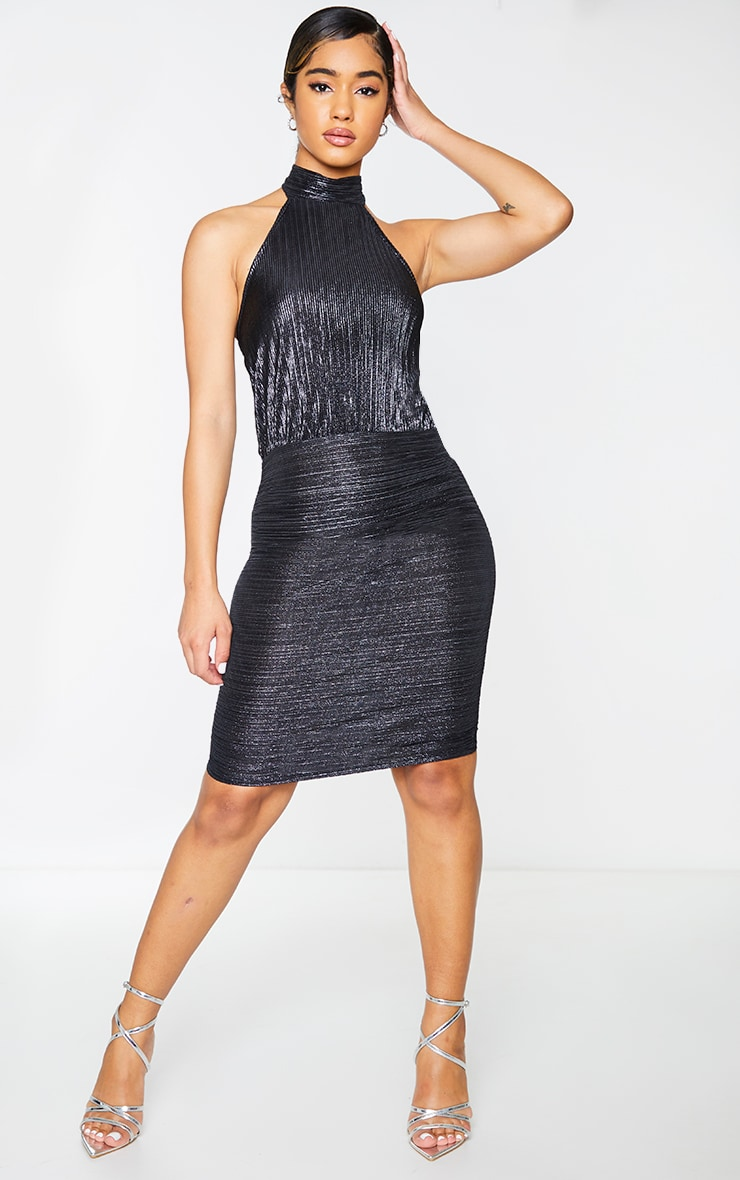 Black Glitter Plisse Halterneck Bodycon Dress 3