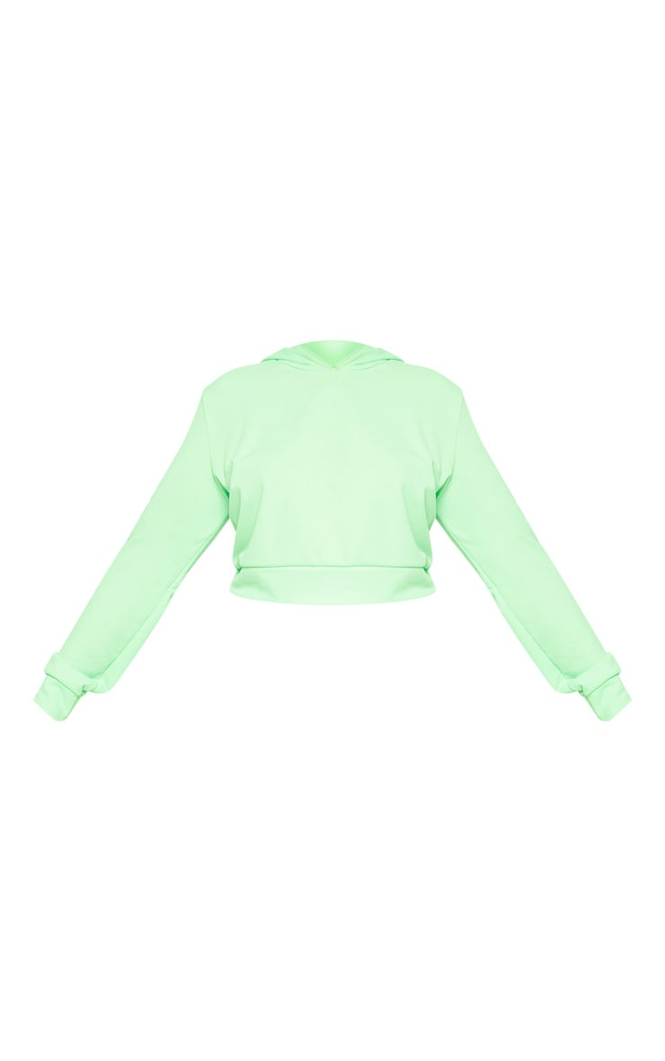 Plus Neon Green Cropped Hoodie Top 3