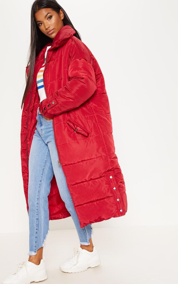 Burgundy Longline Puffer Jacket  3