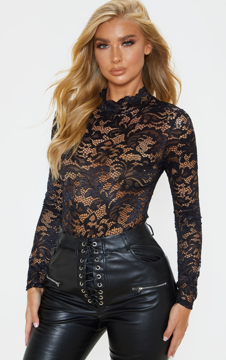 Black Sheer Lace Scallop Detail Bodysuit 1