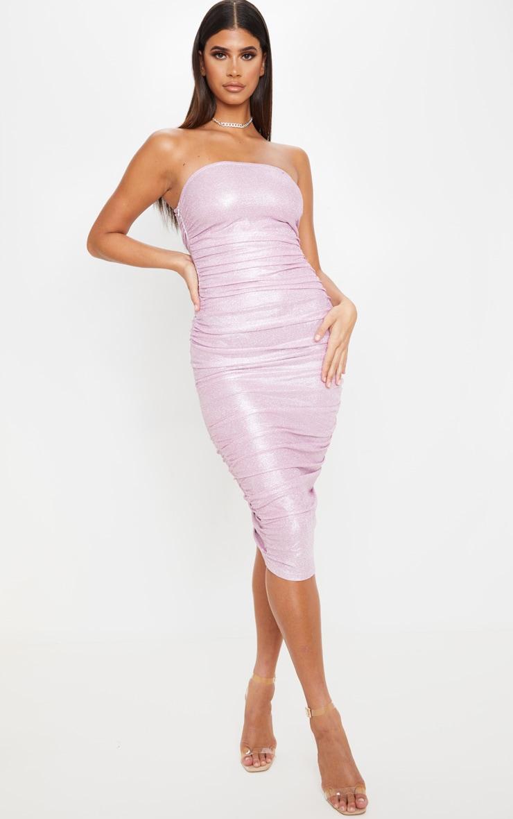 Pink Glitter Ruched Bandeau Midi Dress