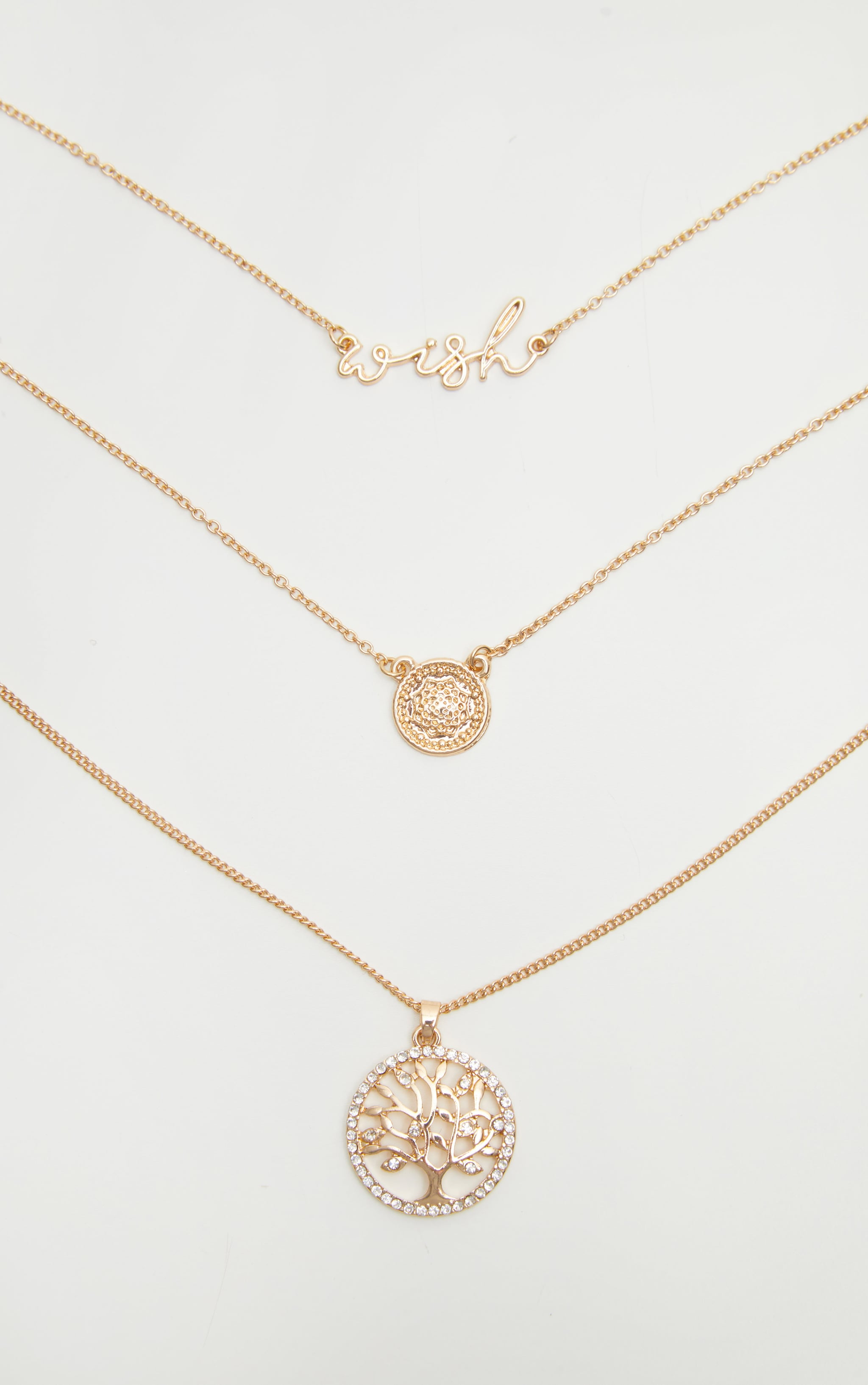 Gold Wish Coin Layered Necklace 3