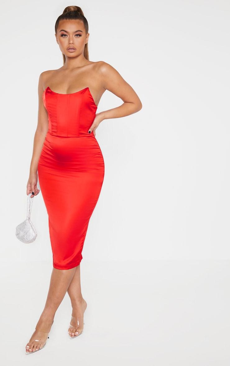 Scarlet Boning Detail Bandeau Midi Dress image 1
