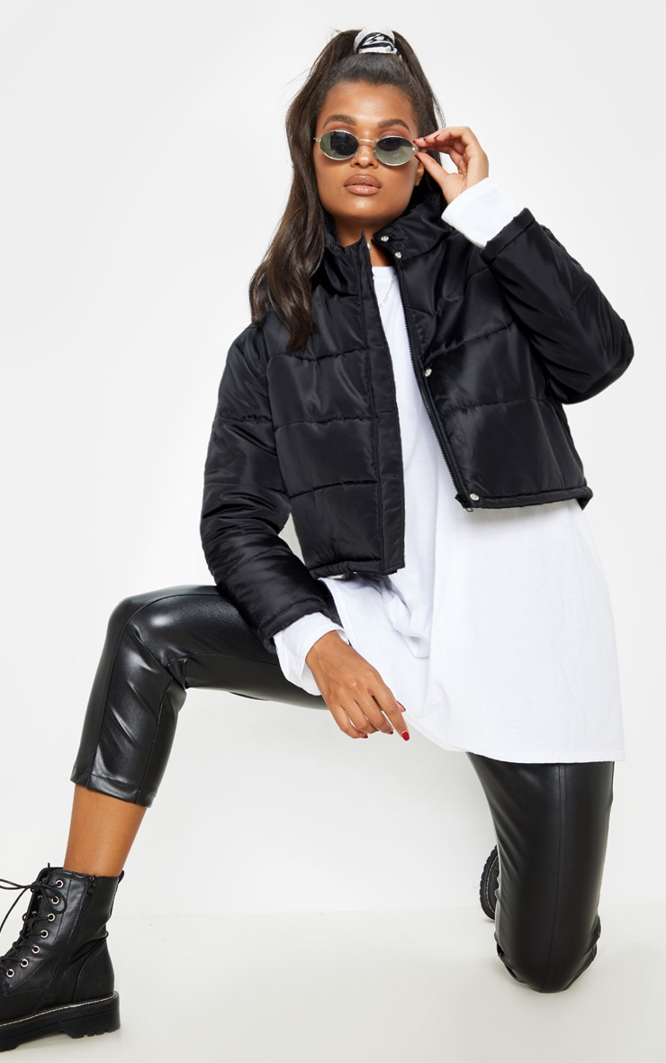 Black Super Cropped Puffer 1