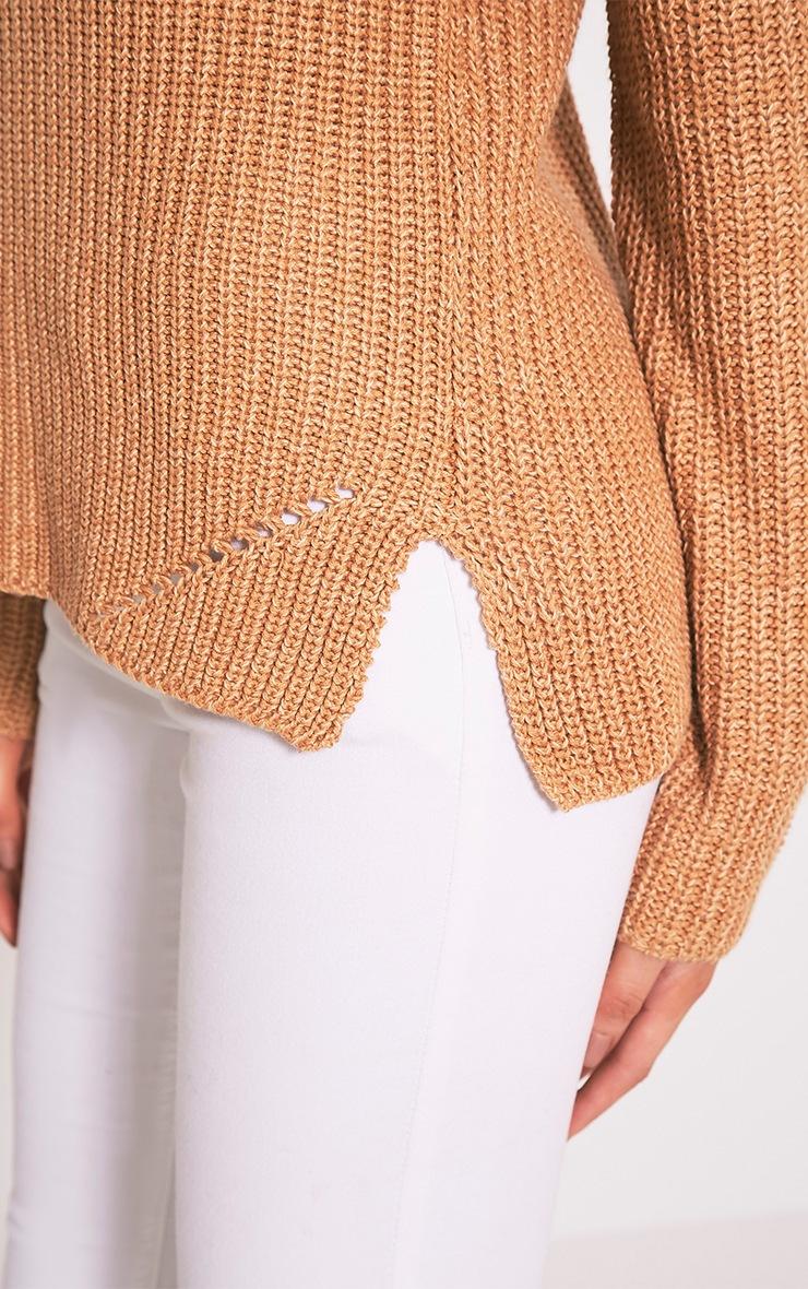 Soraya pull tricoté à col roulé brun 6