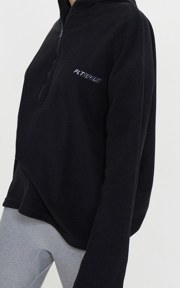 PRETTYLITTLETHING - Polaire noire à capuche et zip 4
