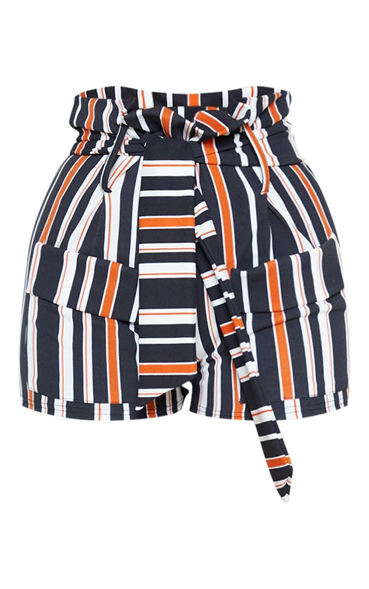 Rust Stripe Paperbag Extreme Tie Waist Short 3