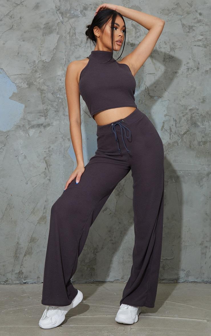 Charcoal Grey Soft Brushed Rib High Neck Sleeveless Crop Top & Wide Leg Trouser Set 1