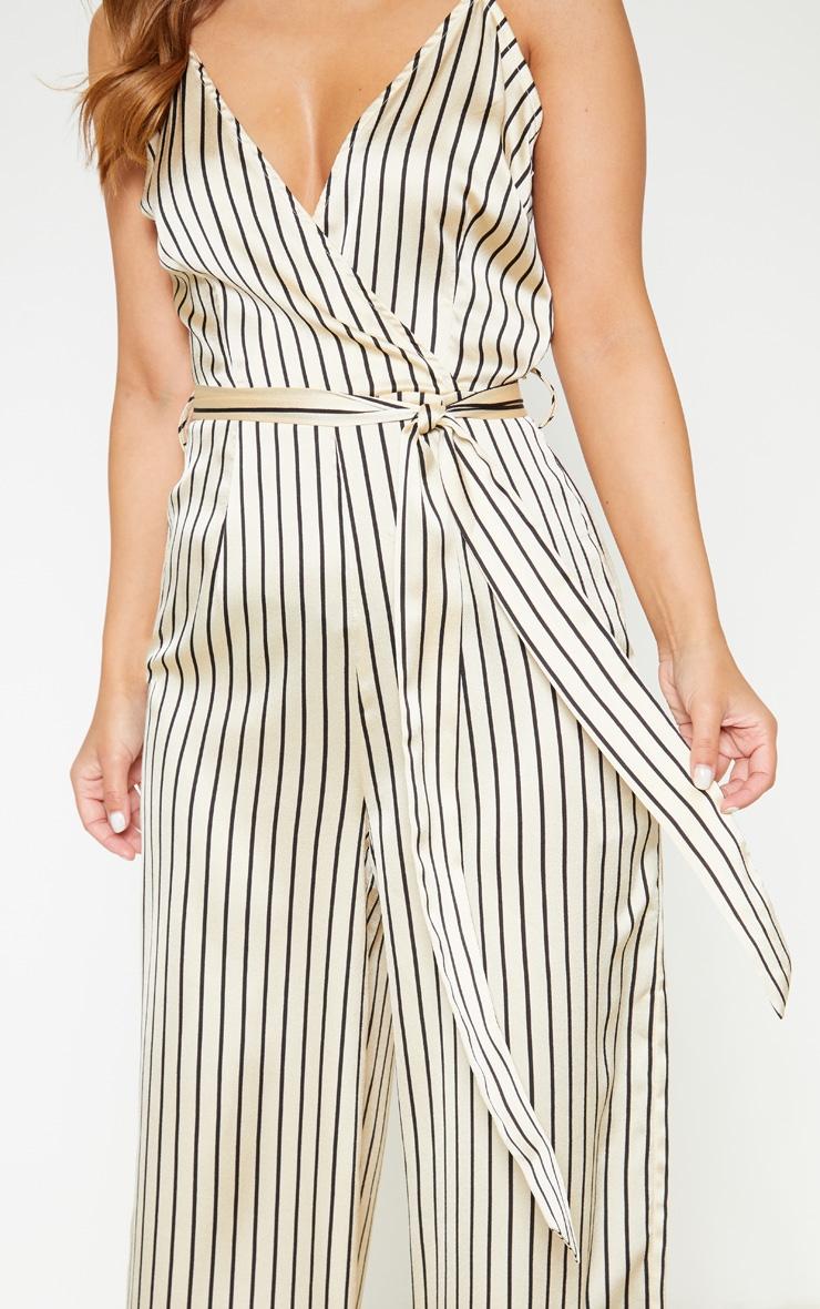 Petite Cream Stripe Print Strappy Tie Waist Jumpsuit 5