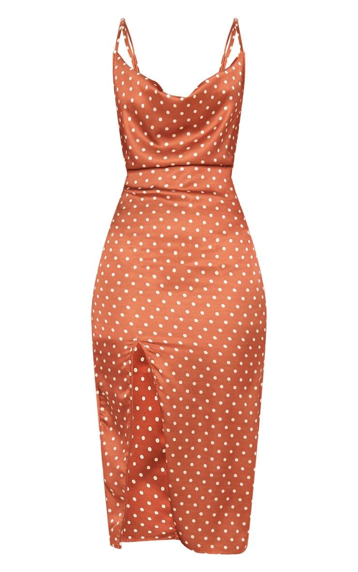 Terracotta Polka Dot Satin Strappy Cowl Midi Dress 3