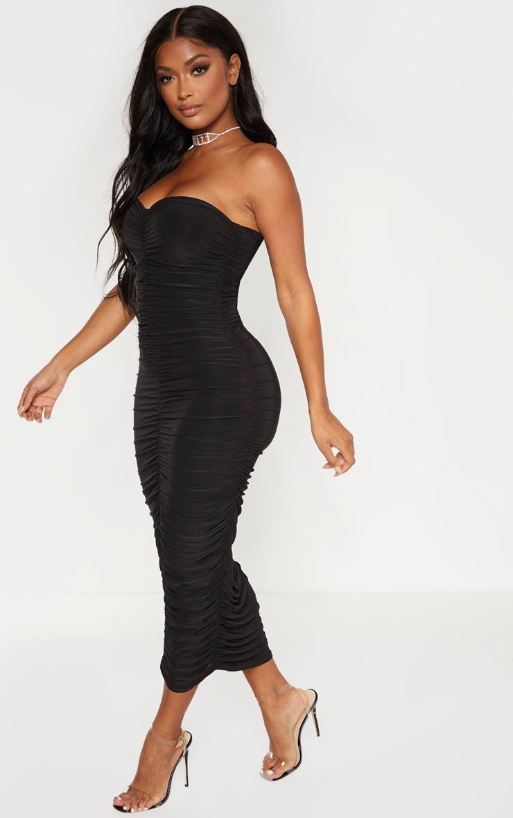 Shape Black Bandeau Ruched Midaxi Dress 4