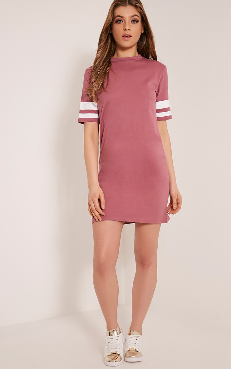 Taylia Rose Stripe Sleeve T Shirt Dress 5