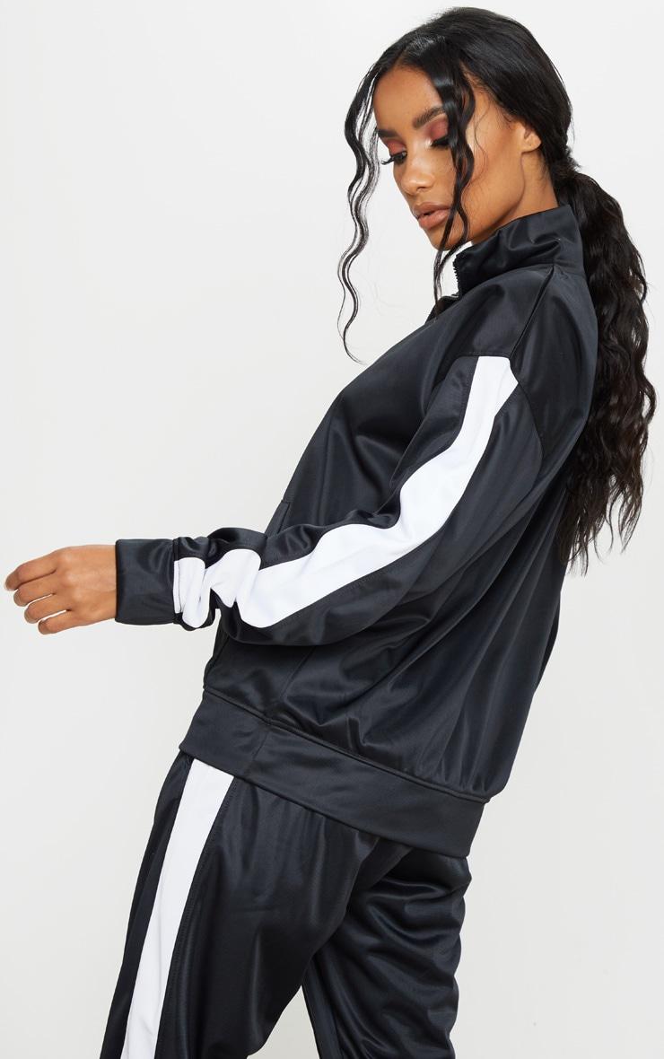 Sweat noir à bande latérale en tricot et col cheminée 2