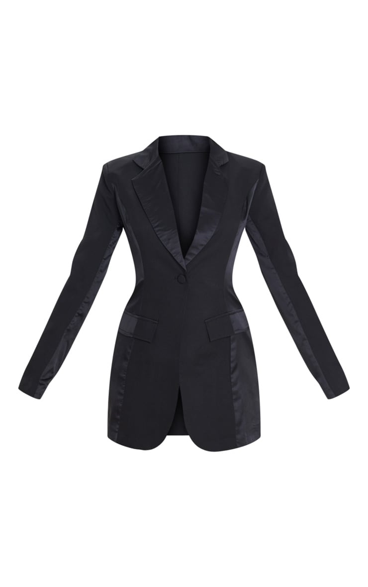 Black Satin Contrast Fitted Longline Blazer 3