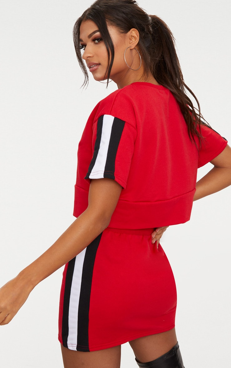 Red Contrast Panel Oversized Short Sleeve Sweater  2