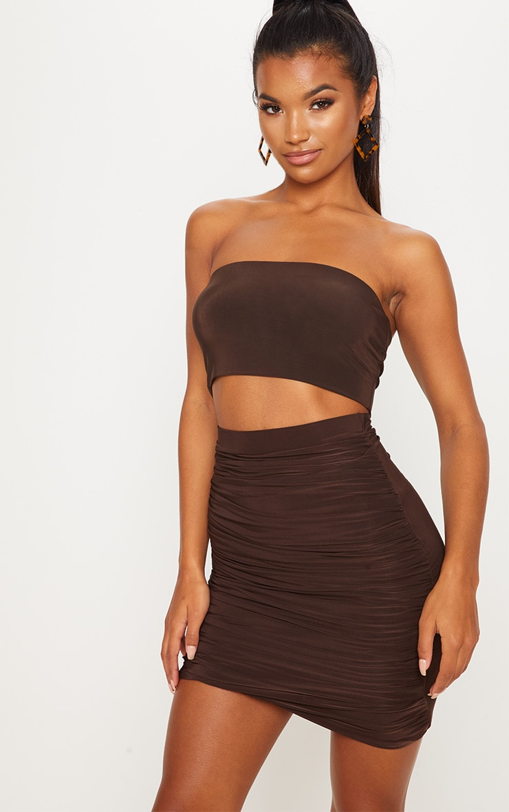 Chocolate Ruched Layered Slinky Mini Skirt