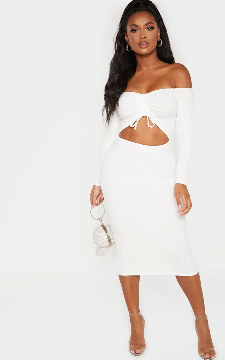 Shape White Cut Out Ruched Front Midi Dress 1