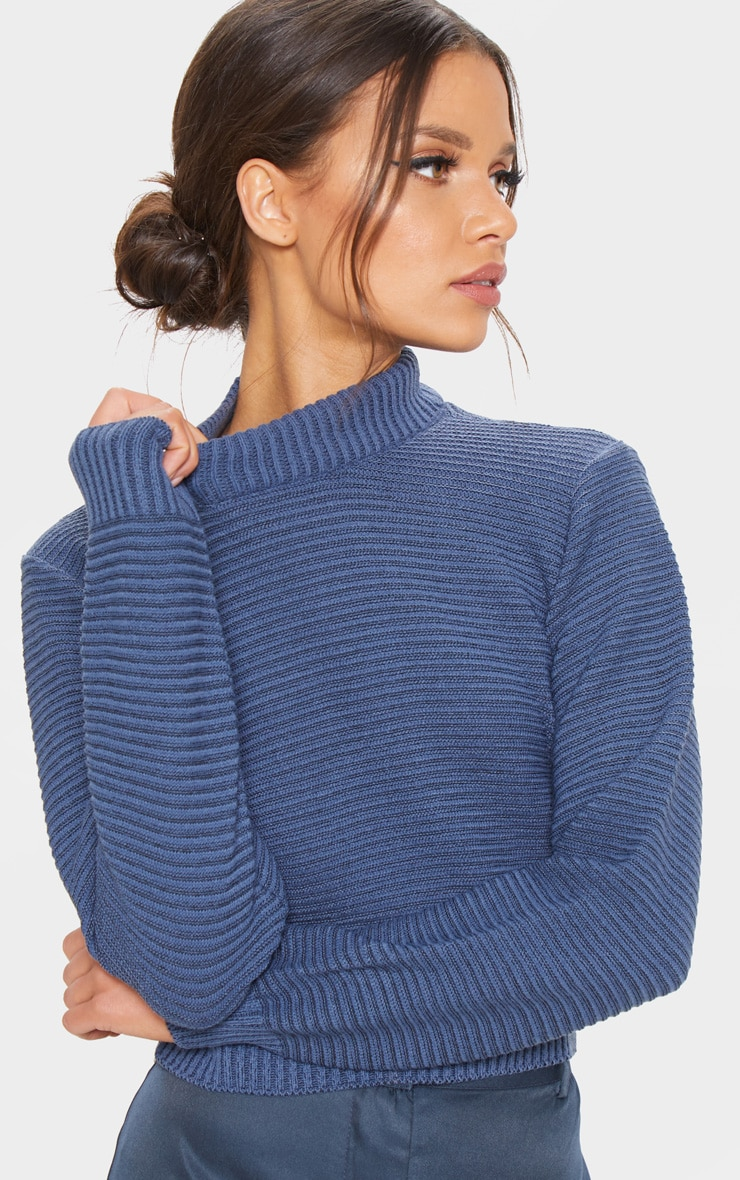 Petrol Ribbed Cropped Knitted Jumper  5