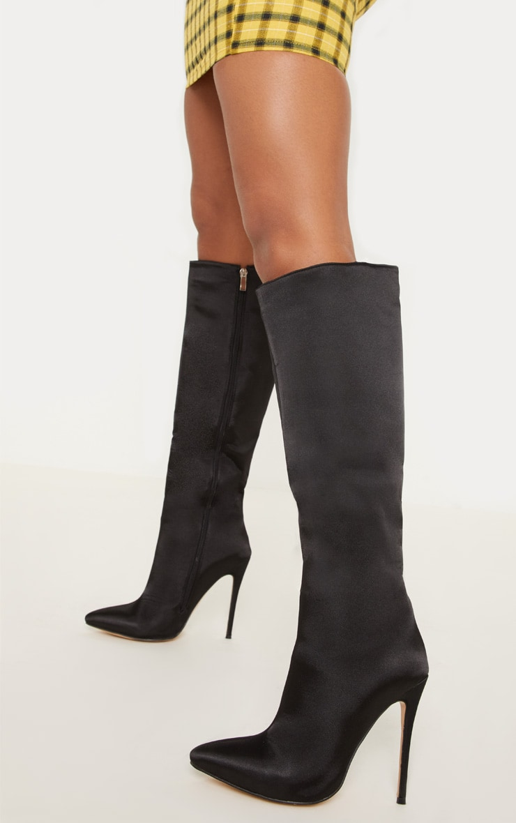 Black Satin Knee High Point Boot