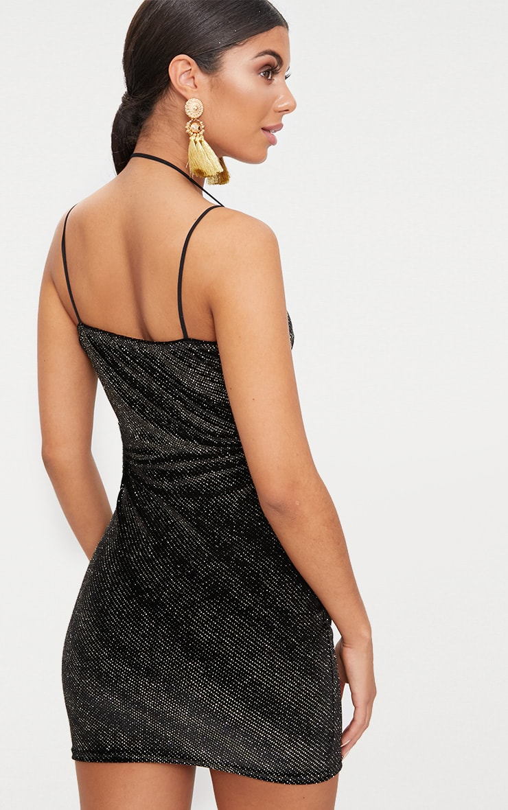 Black Glitter Plunge Neck Strap Bodycon Dress 2
