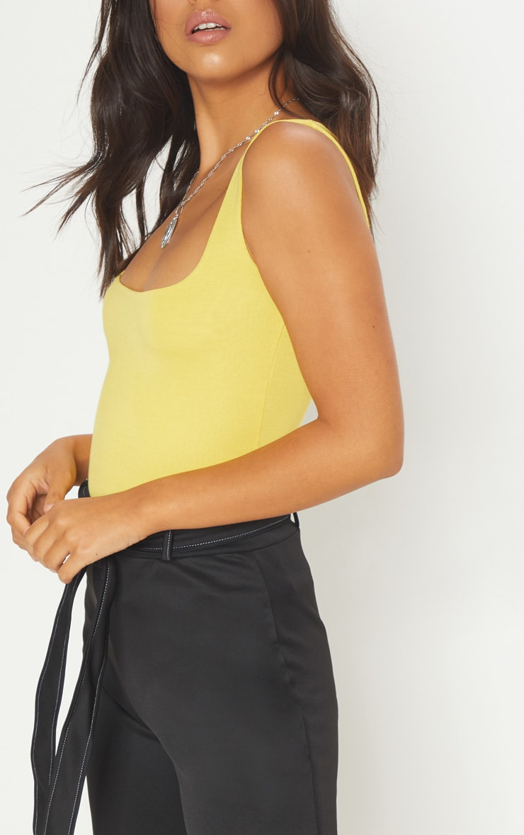 Basic Yellow Square Neck Jersey Vest Top  5