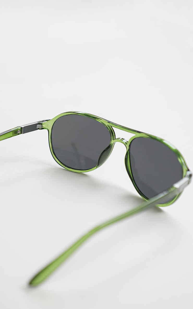 Green Double Bar Round Frame Sunglasses 5
