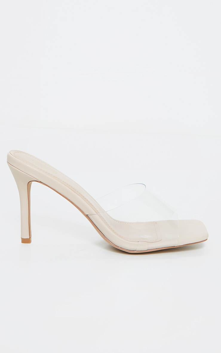 Nude Clear Strap Square Toe Mule Mid Heels 4