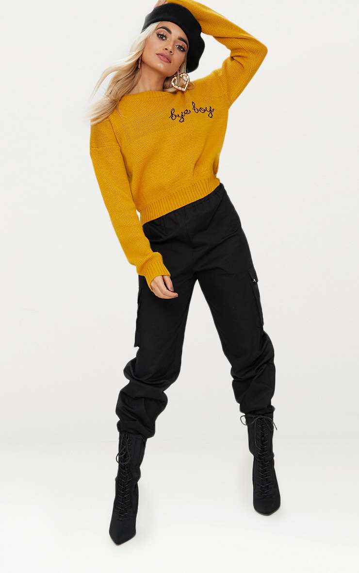 Mustard Bye Boy Slogan Jumper 4