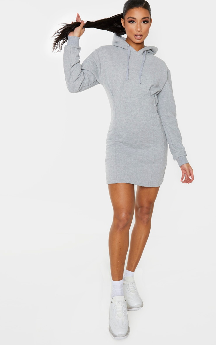 Grey Pleated Hoodie Sweater Dress 4