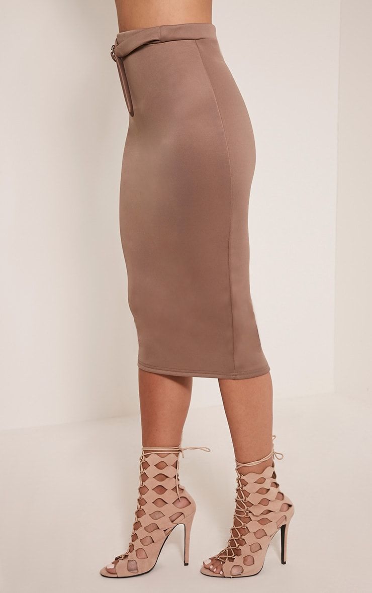 Reyna Taupe D-Ring Belt Scuba Midi Skirt 4