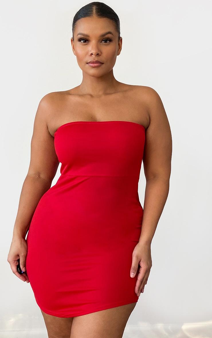 Plus Red Bandeau Pointy Hem Bodycon Dress 1