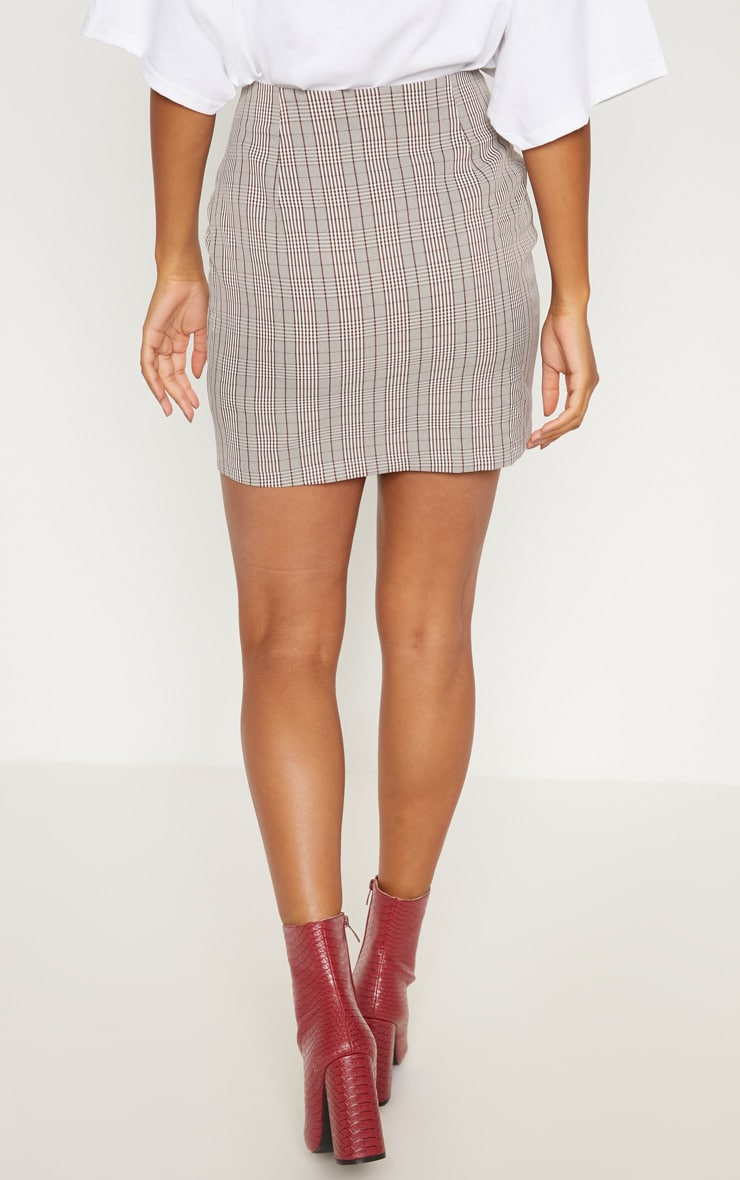 Brown Check Button Up High Waisted Skirt 4