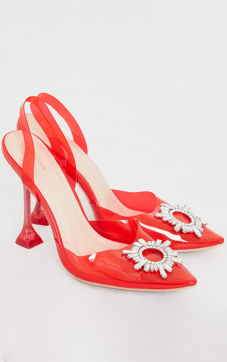 Red Clear Diamante Sling Back Cake Stand High Heels 4