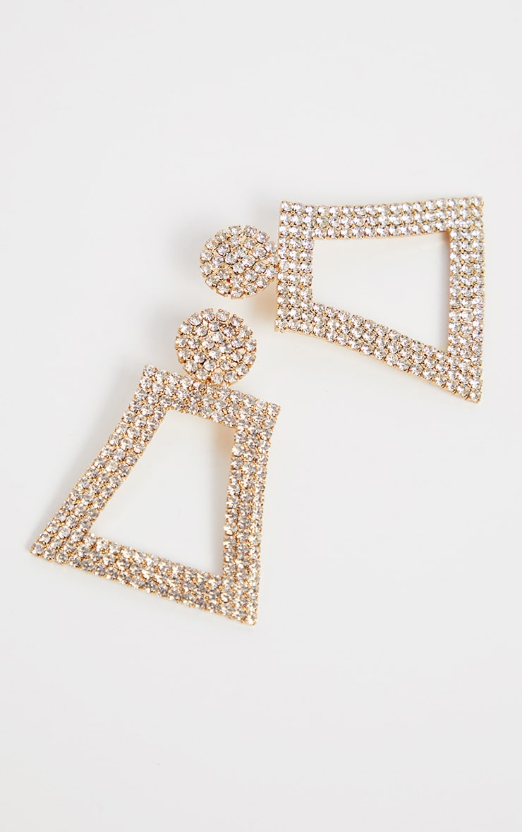 Gold Diamante Geo Drop Earrings 3