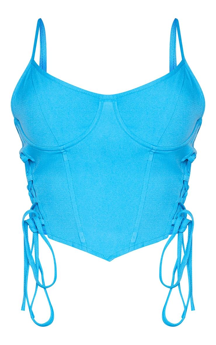 Shape Bright Blue Lace Up Underbust Corset Detail Crop Top 5