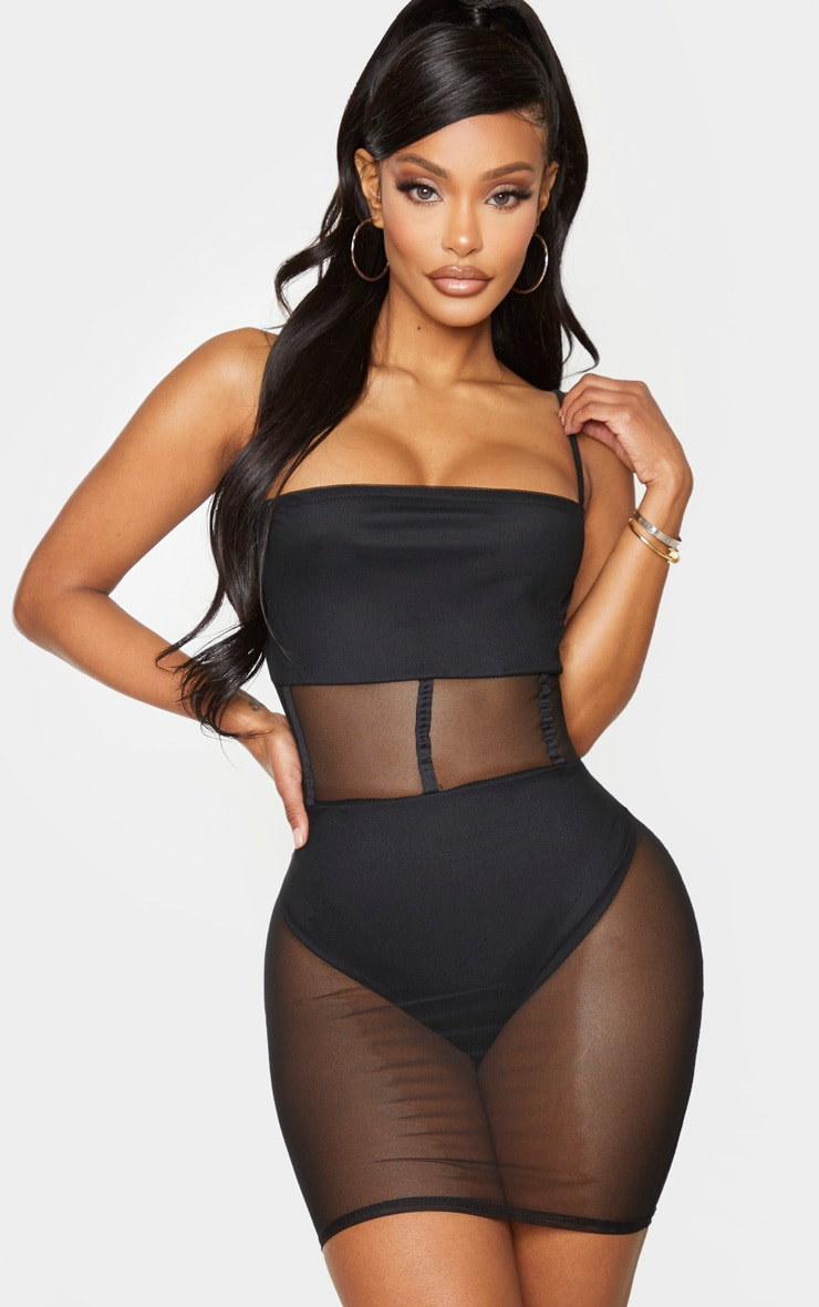 Shape Black Mesh Binding Detail Bodycon Dress 1
