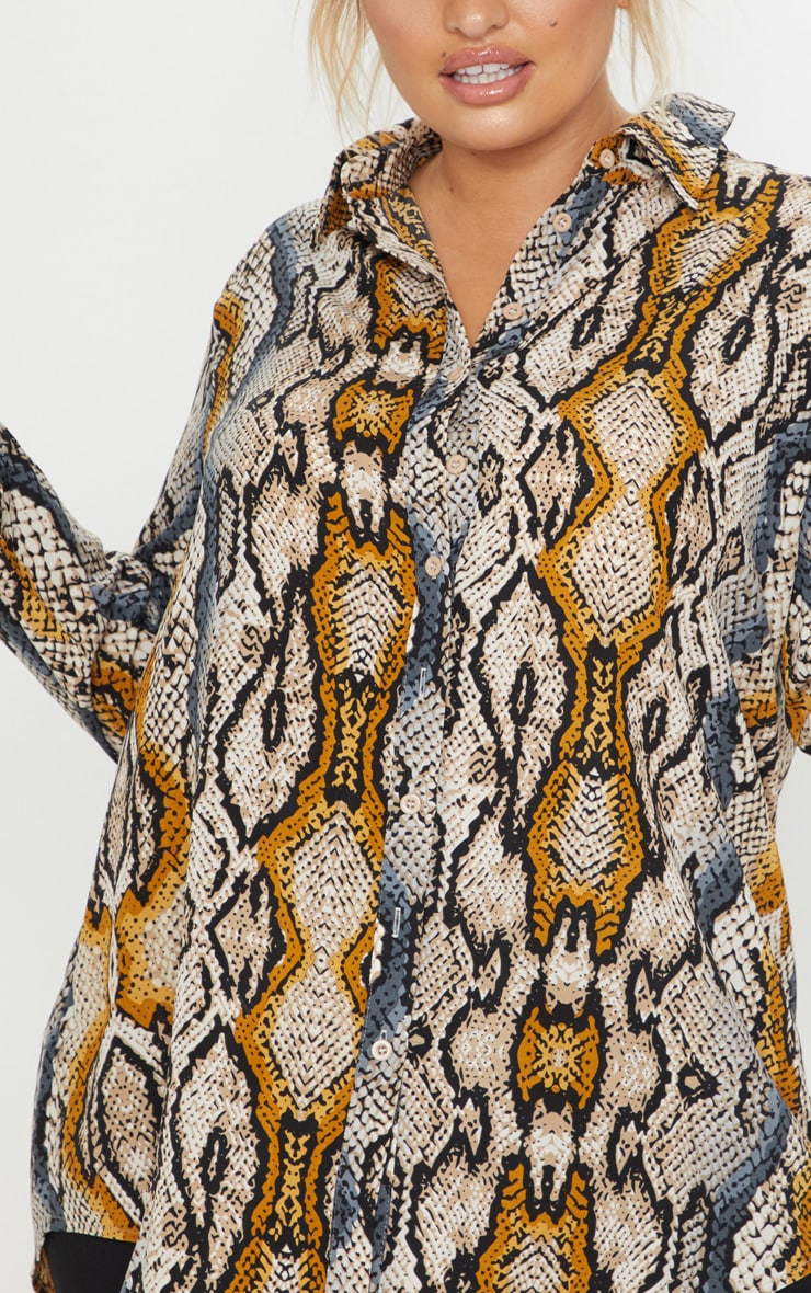 Plus Stone Snake Print Oversized Shirt 5