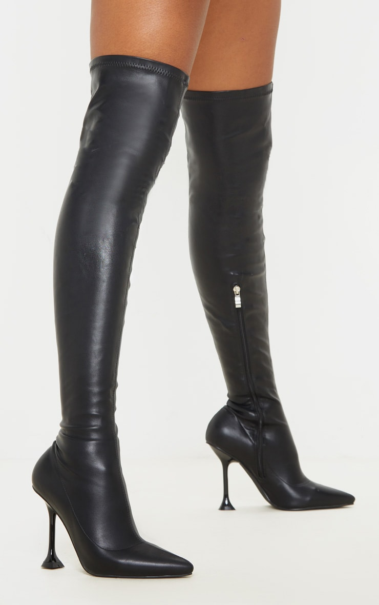Black Cake Stand Thigh High Sock Boot 2