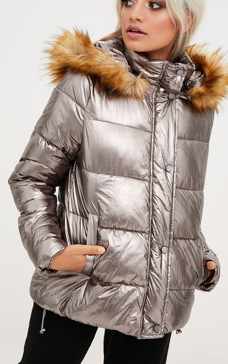 Gunmetal Foil Puffer Jacket With Faux Fur Hood 5