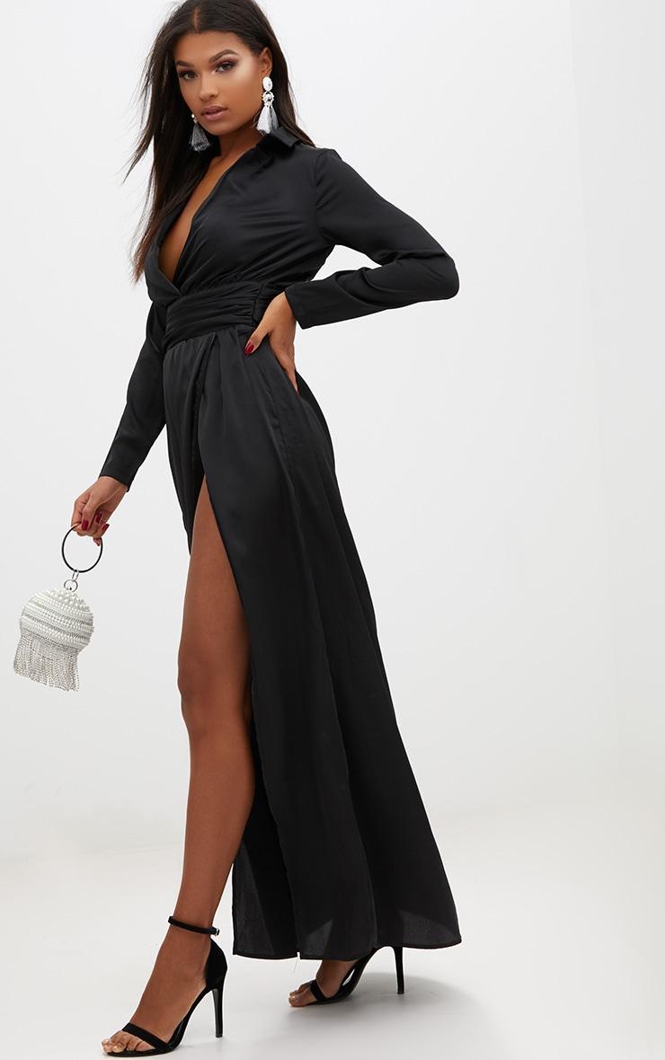 Black Long Sleeve Satin Belt Detail Maxi Dress 4